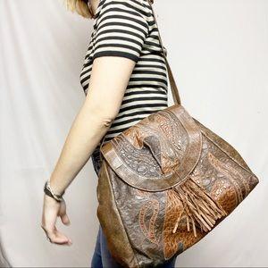 Vintage Brown Leather Hobo Patchwork Shoulder Bag